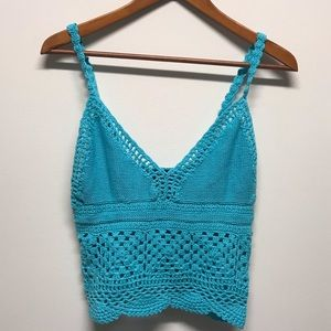 Baby blue crochet crop cami